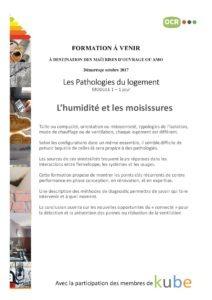 Formation les pathologies du logement : l'humidité et les moisissures